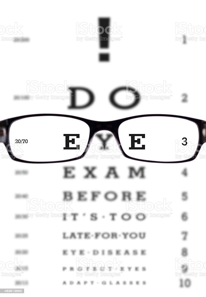 8a998ede33c Glasses With Eye Chart Stock Photo   More Pictures of Astigmatism ...