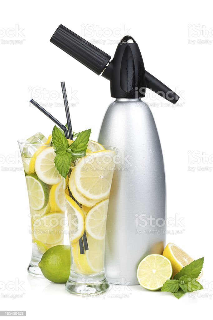 Glasses with homemade lemonade and siphon royalty-free stock photo