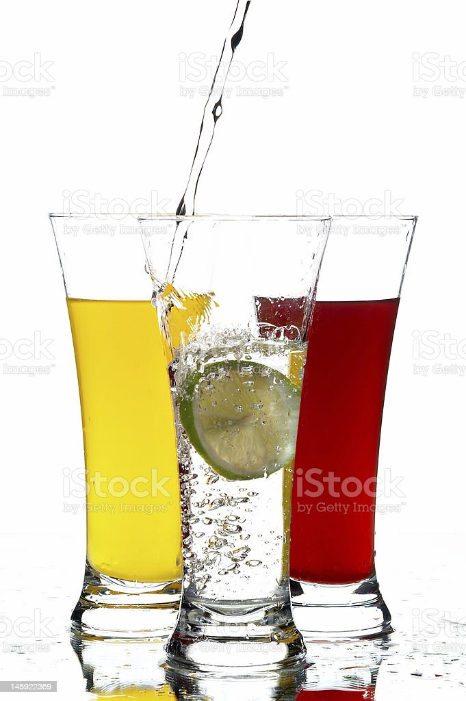 glasses with juice and lemon royalty-free stock photo