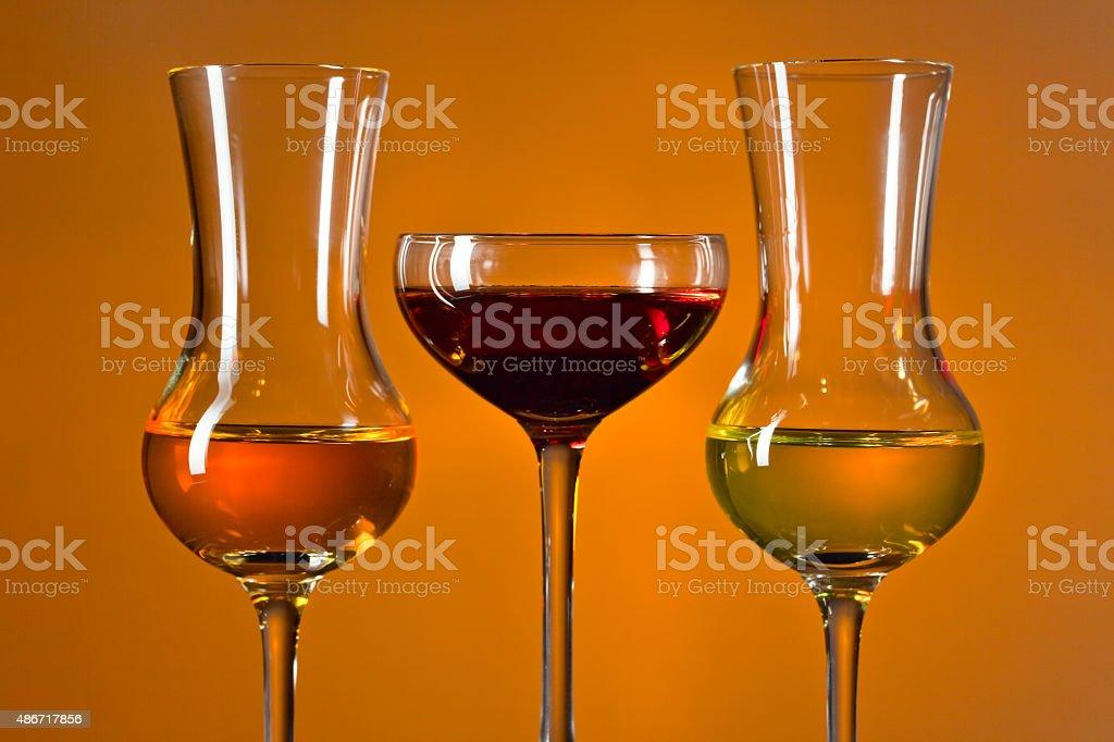 Glasses with liquor stock photo