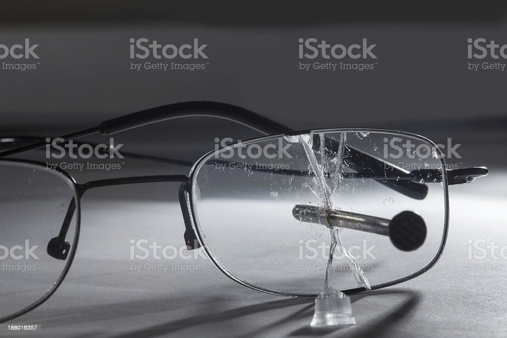 glasses with nail stock photo