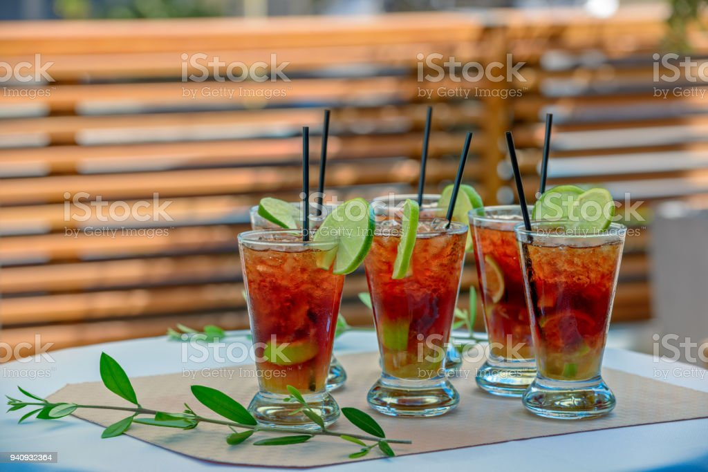 Glasses with rum cocktail stock photo
