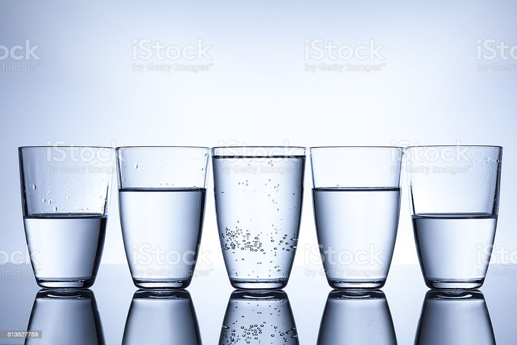 glasses with water stock photo