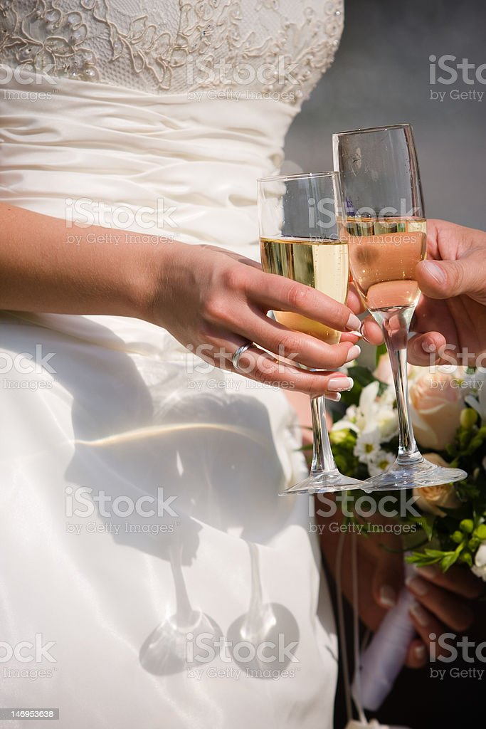 Glasses with wedding champagne royalty-free stock photo