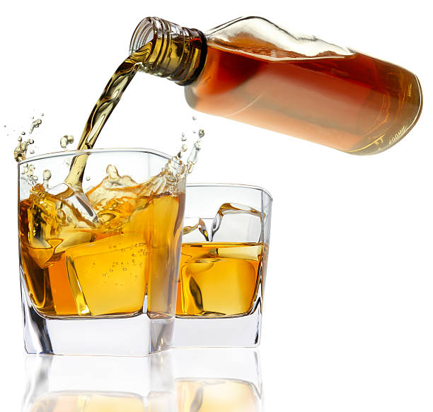 Glasses with whiskey. stock photo