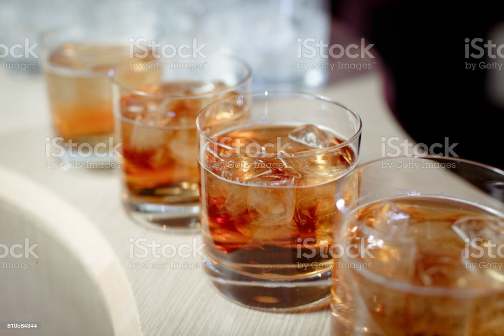 Glasses with whiskey stock photo