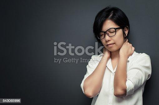 istock Glasses woman neck pain. 543065996