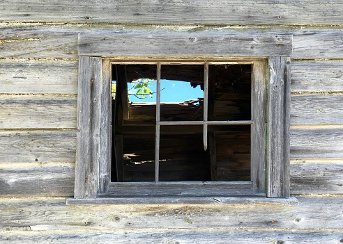 window on a shack in vermont