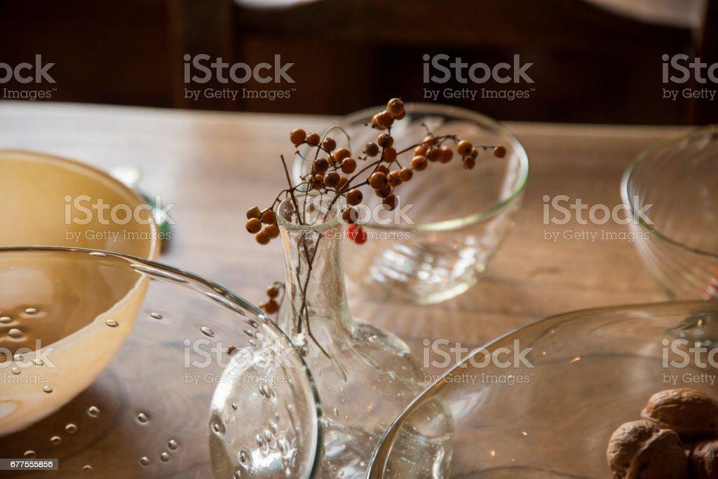 Glass Plate Walnut Decoration Lifestyle Kitchen Close-up Japan royalty-free stock photo