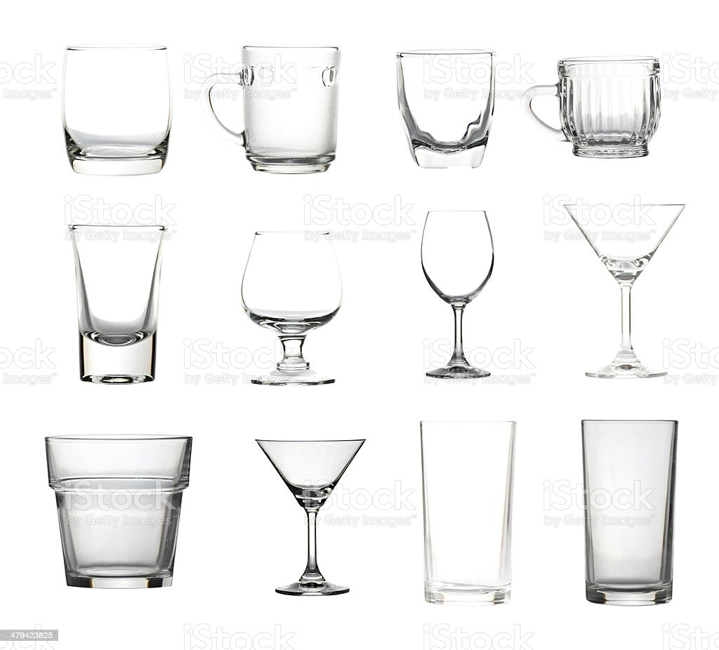 Glassware collection isolated of picture big size. stock photo