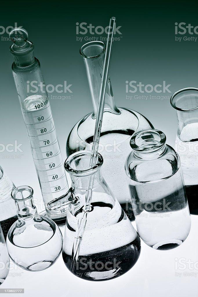 Glassware on green stock photo