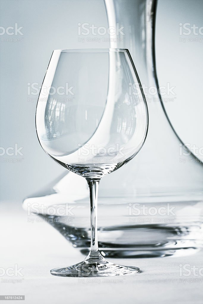 Glassware - Stemware- Wineglass and Decanter Close-up stock photo
