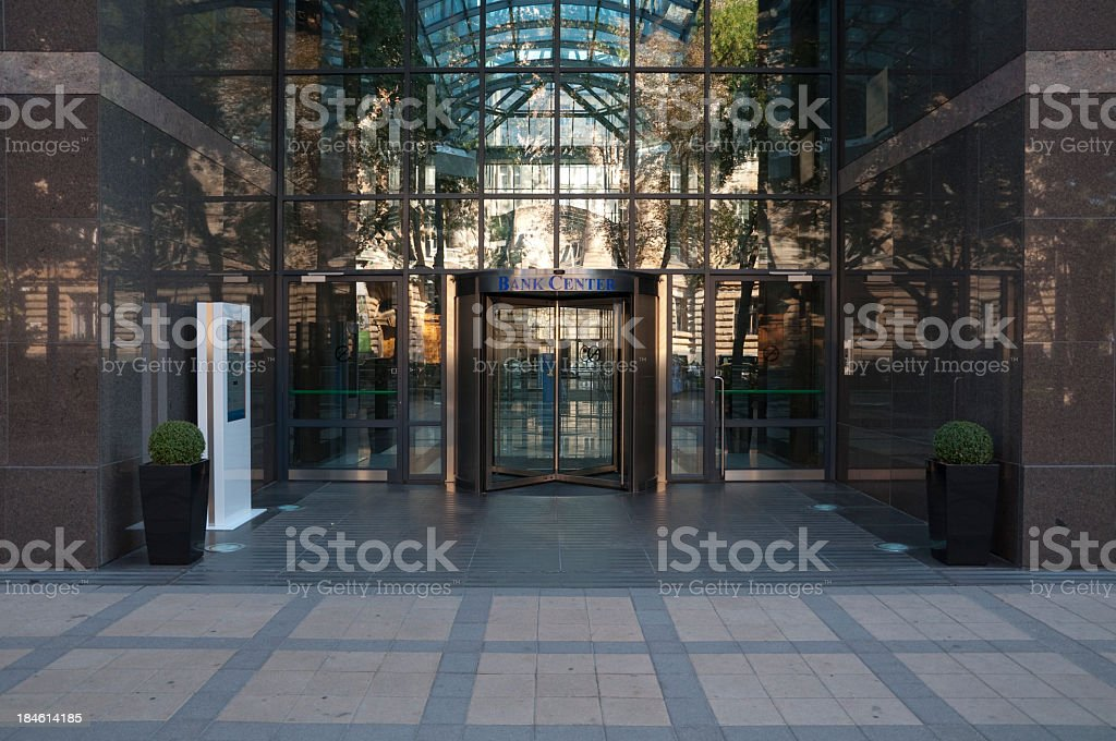 Glassy bank center with reflections from outside stock photo