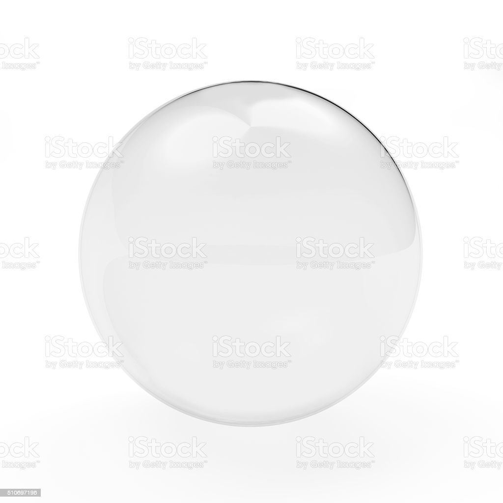 Glassy transparent sphere stock photo