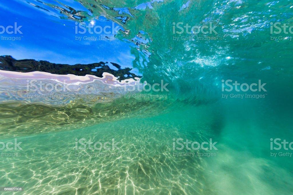 Glassy Underwater Wave Window stock photo
