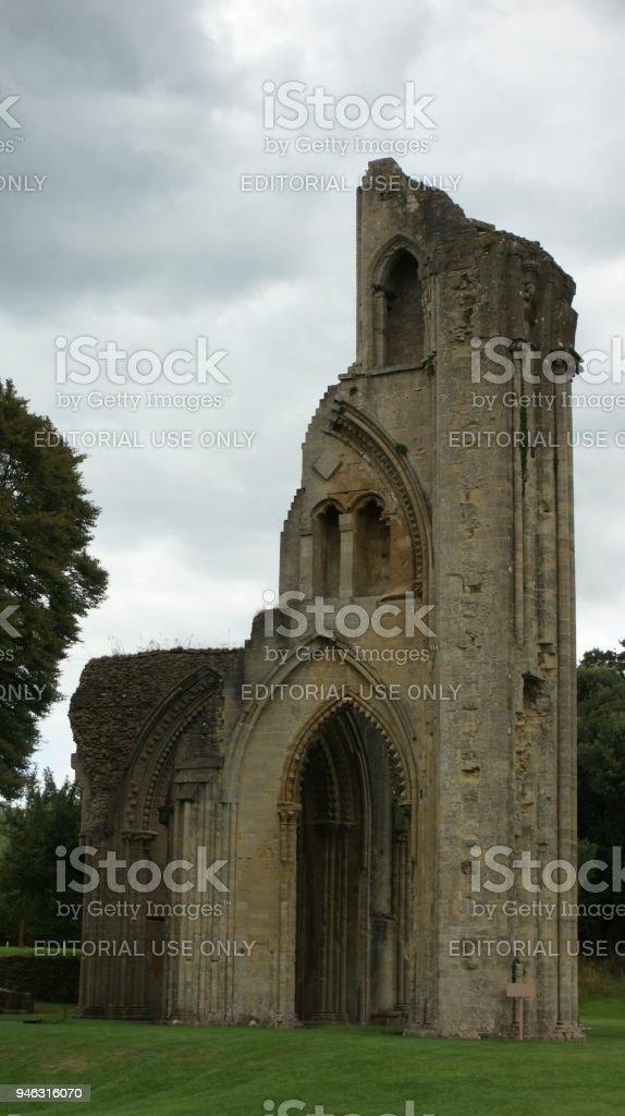 Glastonbury abbey stock photo