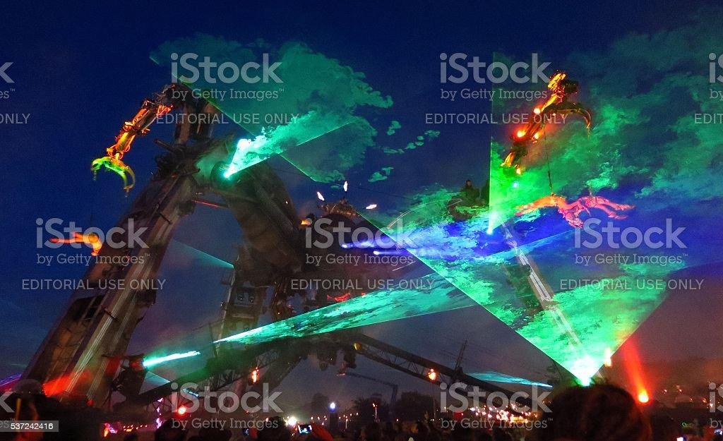 Glastonbury Festival Arcadia Stage monster lasers smoke at night stock photo