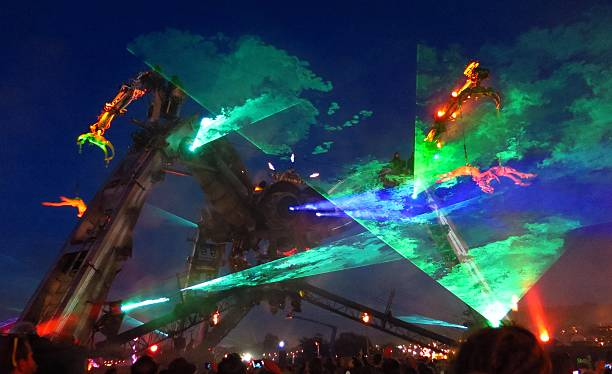 Glastonbury Festival Arcadia Stage monster lasers smoke at night stock photo
