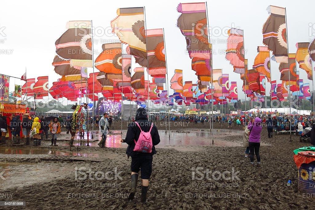 Glastonbury Festival lakes of mud stock photo