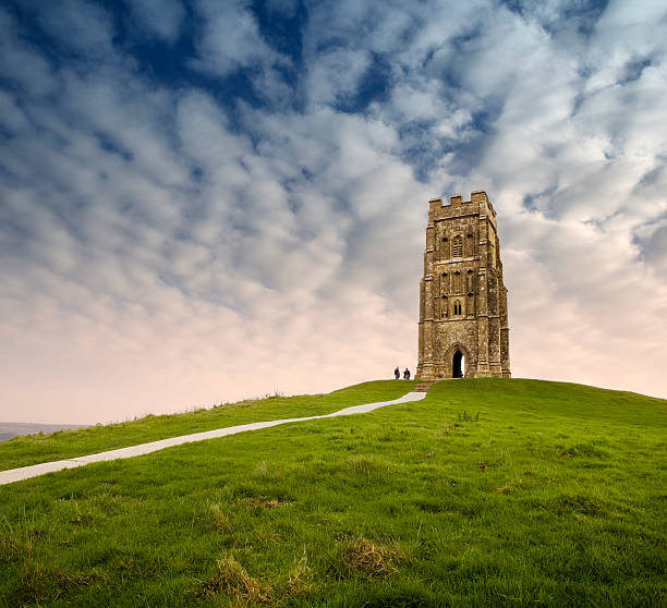 Glastonbury Tor The summit of Glastonbury Tor somerset england stock pictures, royalty-free photos & images
