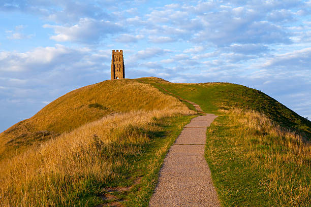 glastonbury tor - outcrop stock pictures, royalty-free photos & images