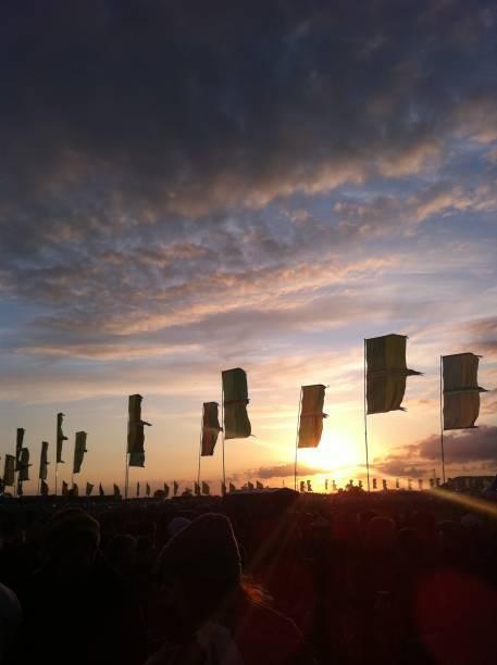 Glastonbury music festival flags. stock photo