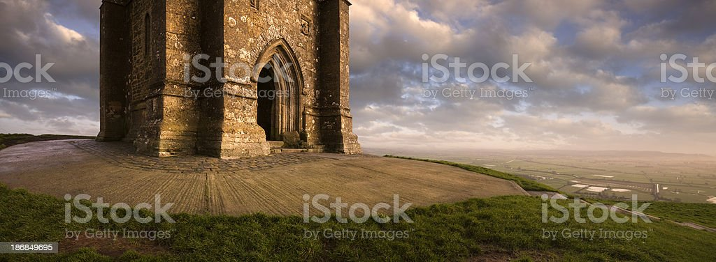 Glastonbury Tor at Sunset royalty-free stock photo