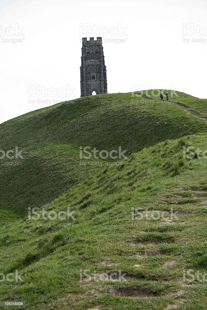 glastonbury tor church ruins somerset royalty-free stock photo