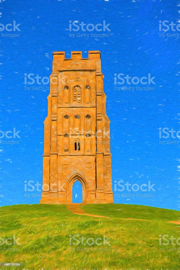 Glastonbury Tor Somerset England illustration bright blue sky stock photo