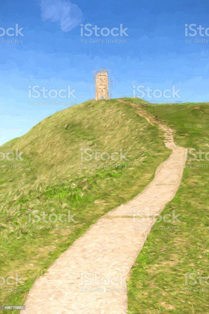 Glastonbury Tor Somerset England illustration like oil painting stock photo