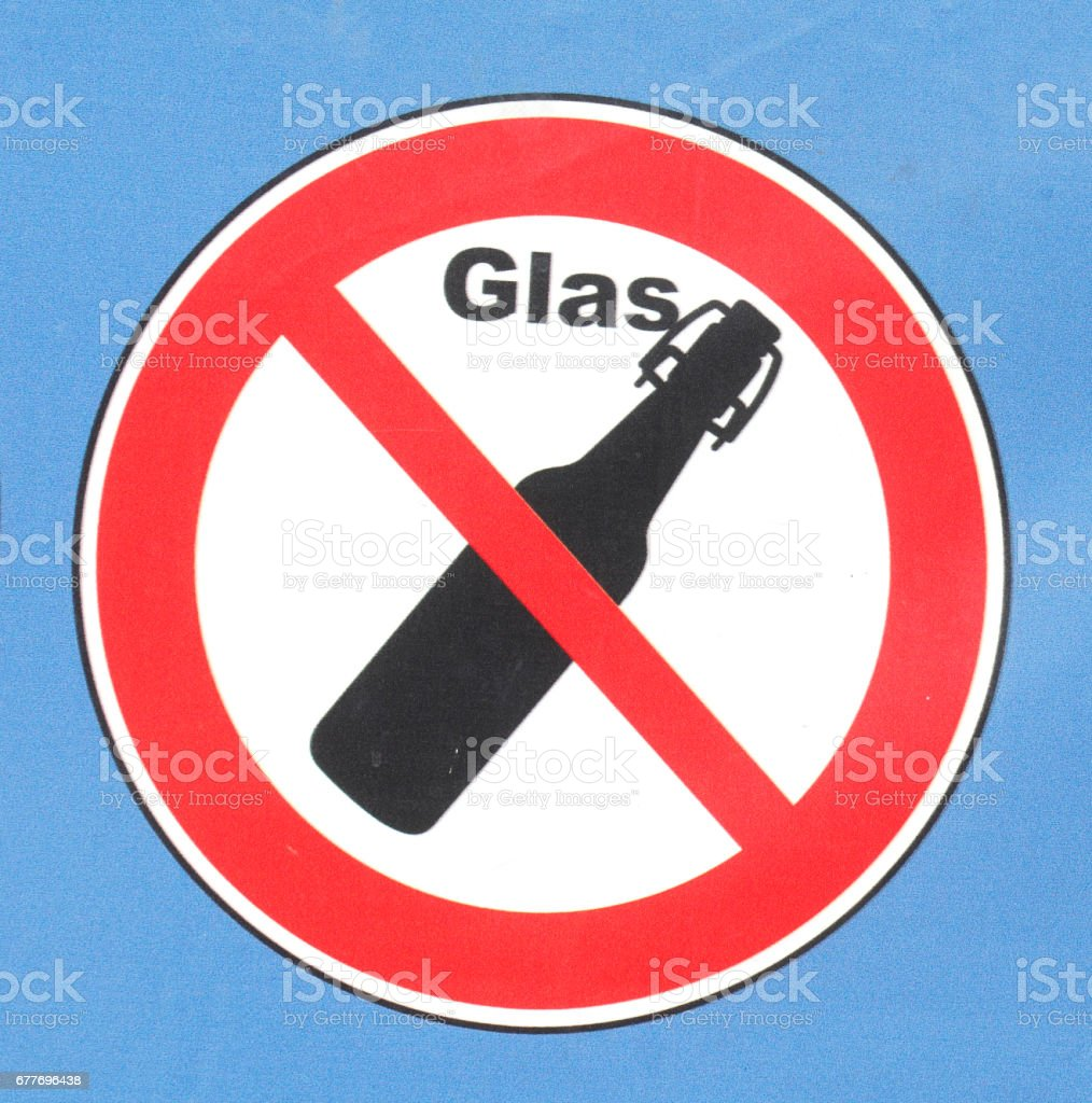 Glasverbotsschild stock photo