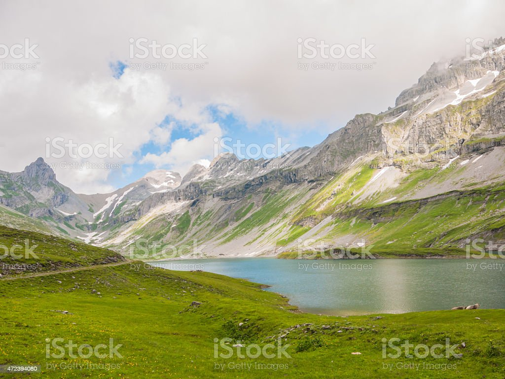 Glattalpsee (lake) and Ortstock stock photo