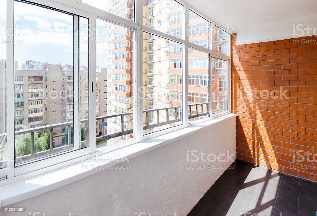 Glazed balcony stock photo