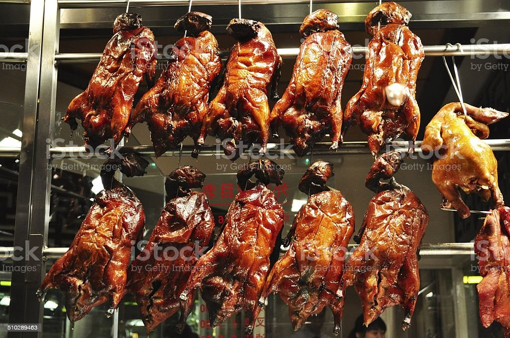 Glazed chicken and duck stock photo