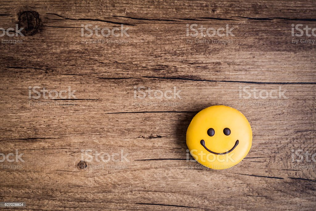 Glazed cookies in the shape of a smiley stock photo