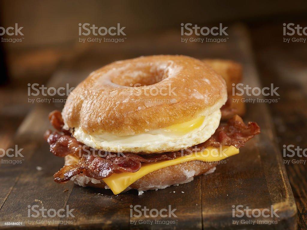 Glazed Donut Breakfast Sandwich royalty-free stock photo