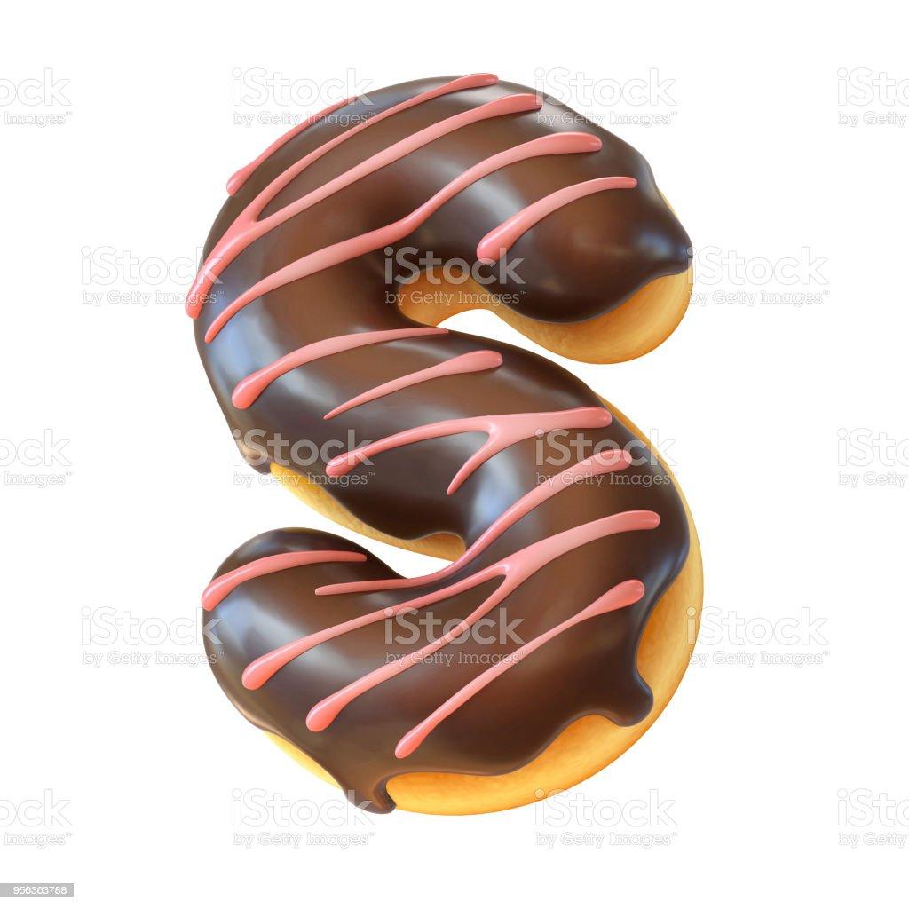 Glazed donut font 3d rendering letter S stock photo