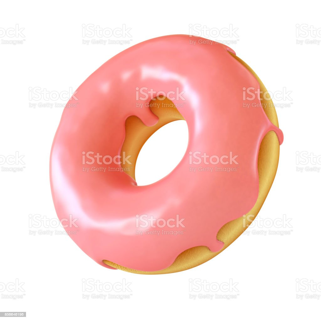 Glazed donut or doughnut 3d rendering stock photo