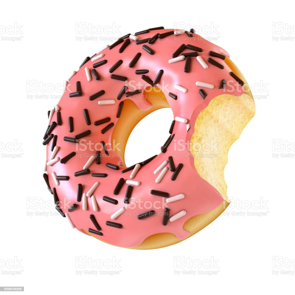 Glazed donut or doughnut with bite missing 3d rendering stock photo