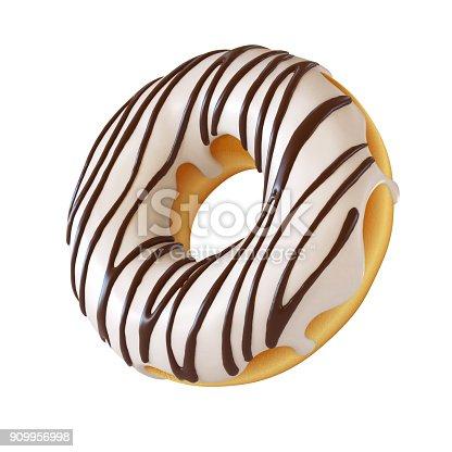istock Glazed donut, white frosting doughnut 3d rendering 909956998