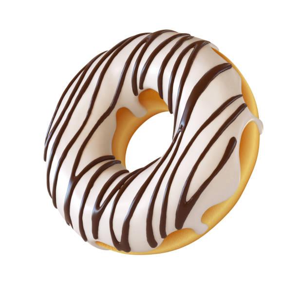 Glazed donut, white frosting doughnut 3d rendering stock photo