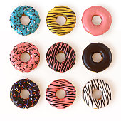 istock Glazed donuts or doughnuts set - various colors and tastes 3d rendering 856646176