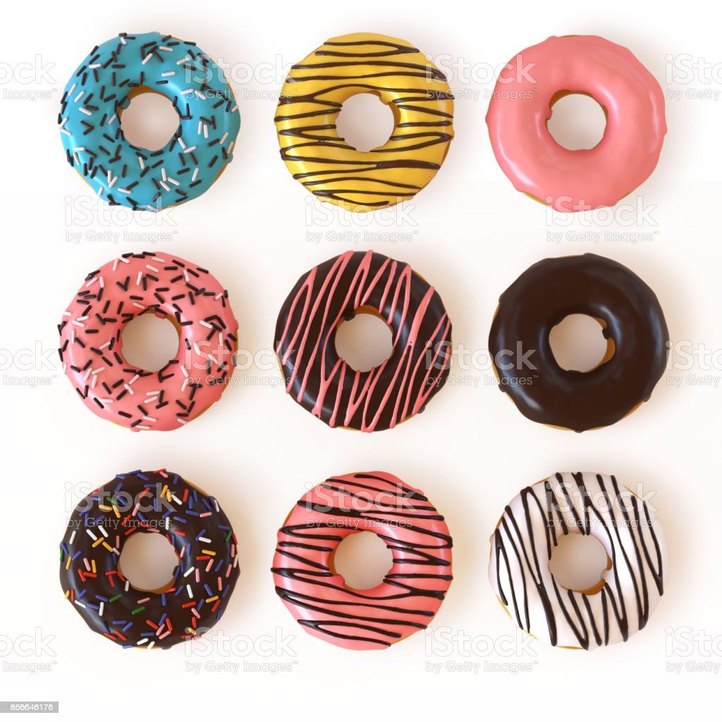 Glazed donuts or doughnuts set - various colors and tastes 3d rendering stock photo