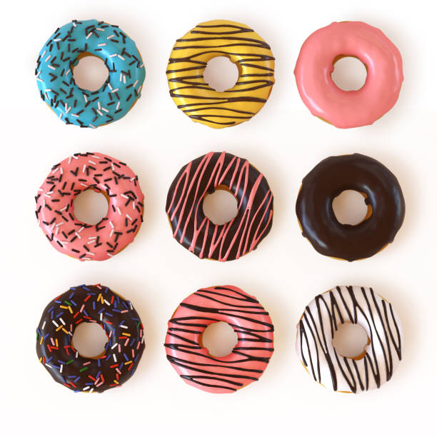 glazed donuts or doughnuts set - various colors and tastes 3d rendering - bombolone foto e immagini stock