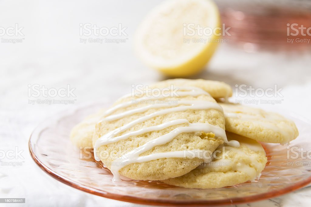 Glazed Lemon Cookies with Copy Space stock photo