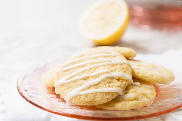 Glazed Lemon Cookies with Copy Space stock photo