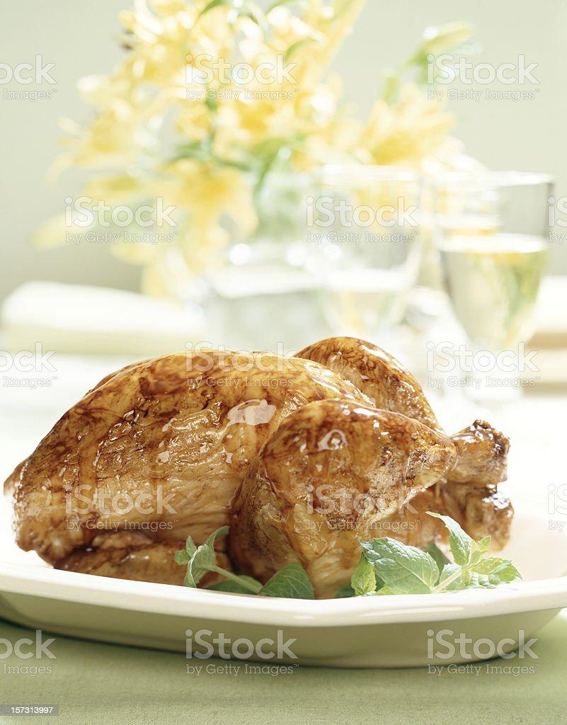 Glazed Roasted Chicken royalty-free stock photo