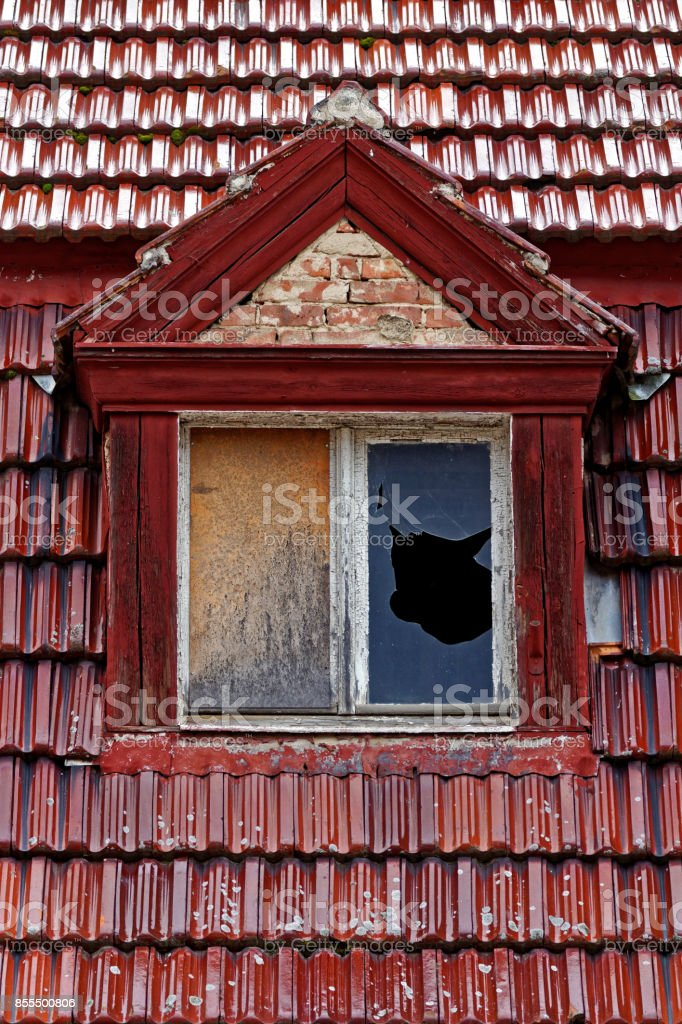 glazed roof tiles and shattered window glass stock photo