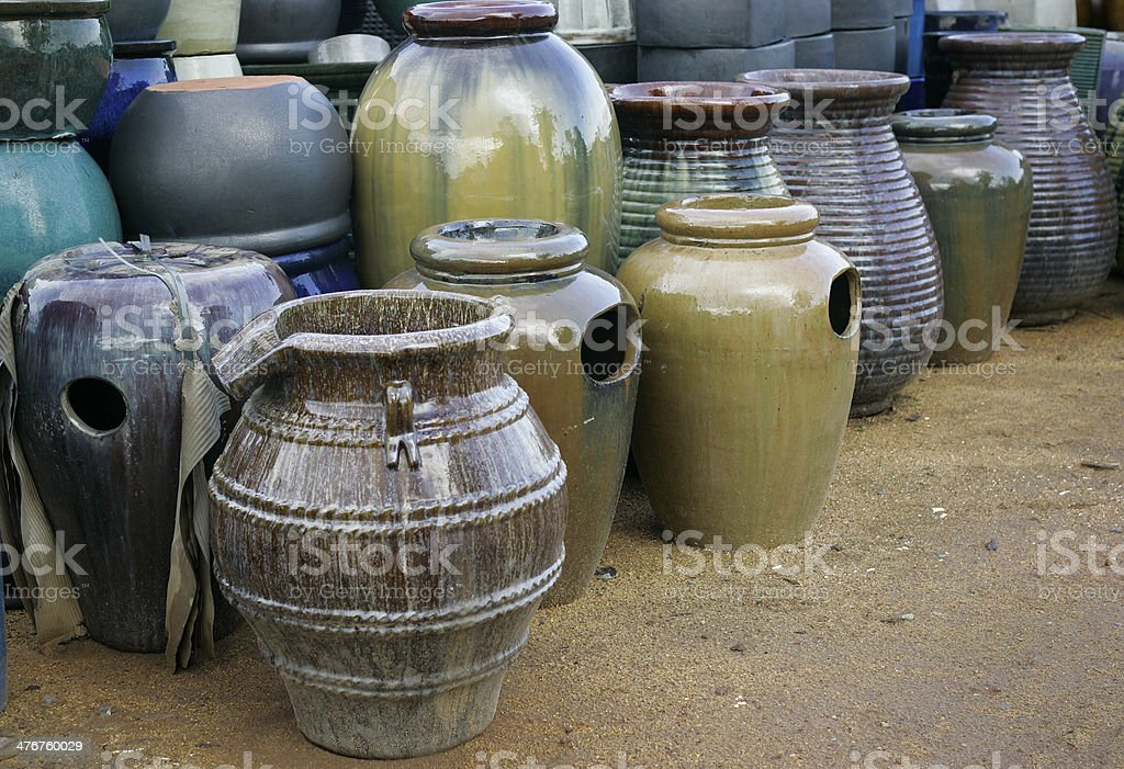 Glazed terracotta pots with impressive color stock photo