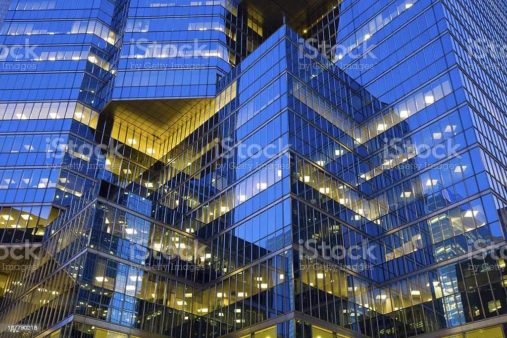 Gleaming Glass Facade, Office Building stock photo